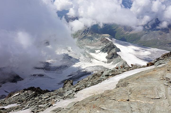 panorama na lodowiec Pasterze z grani Großglockner