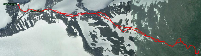 ślad gps, od ze schroniska Spiterstulen na Galdhøpiggen