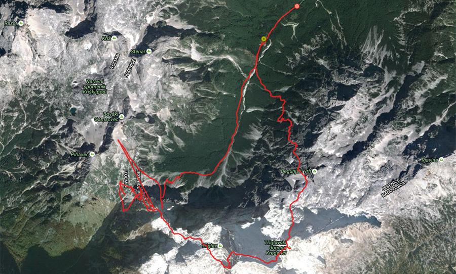 ślad gps od schroniska Alzajev Dom - przełęcz Luknja - Triglav - Triglavski dom - Alzajev Dom
