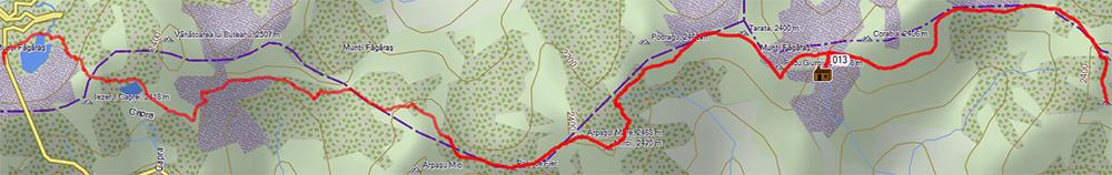 ślad gps od jeziora Balea Lake do szczytu Moldoveanu, 2544 m n.p.m.