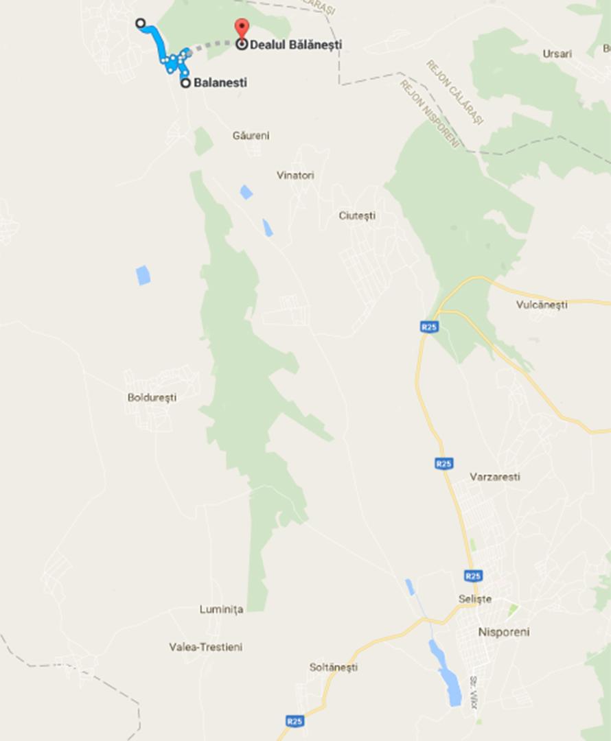 Mapa okolicy, podróżując od wsi Selişte do Balanesti jedziemy drogą numer L390 (nie ma jej całej na mapie, ale ona istnieje)