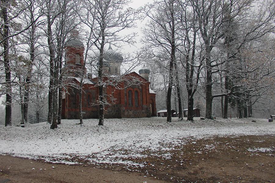 kościół w drodze na najwyższy szczyt Estonii, Suur Munamägi - 318 m n.p.m.