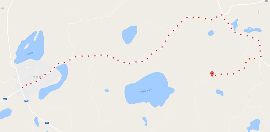 mapa dojazdu do najwyższego szczytu Łotwy