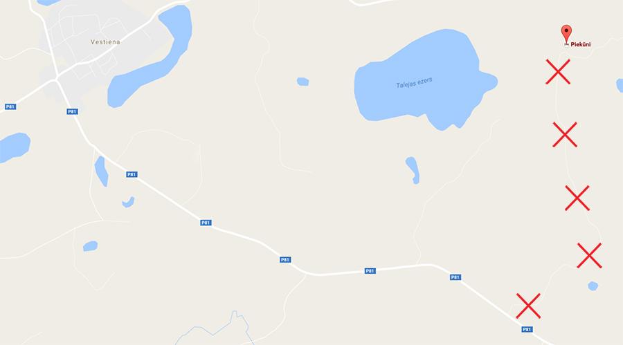 mapa błędnego skrętu do najwyższego szczytu Łotwy