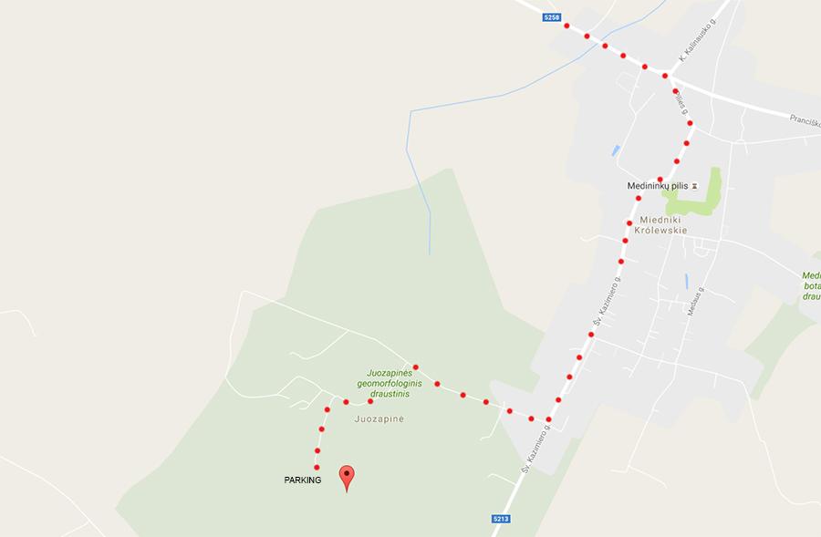 mapa dojazdu do najwyższego szczytu Litwy – Wysoka Góra, 294 metrów