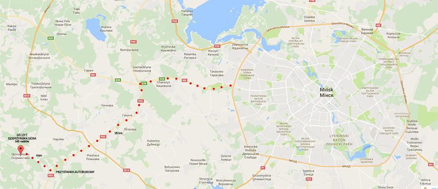 Mapa dojazdu do najwyższego szczytu Białorusi - Dzierżyńska Góra, 345 metrów