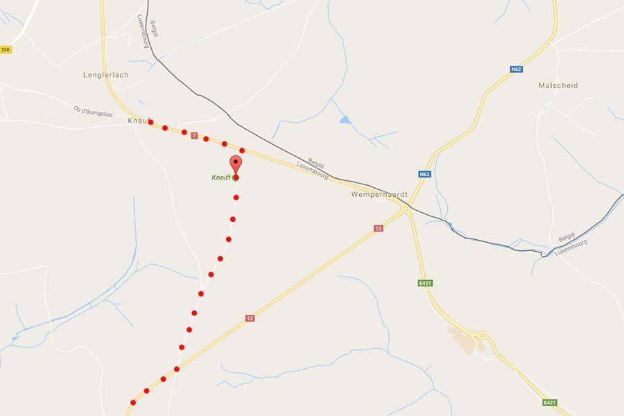 mapa dojazdu do najwyższego szczytu Luksemburga – Kneiff, 560 metrów