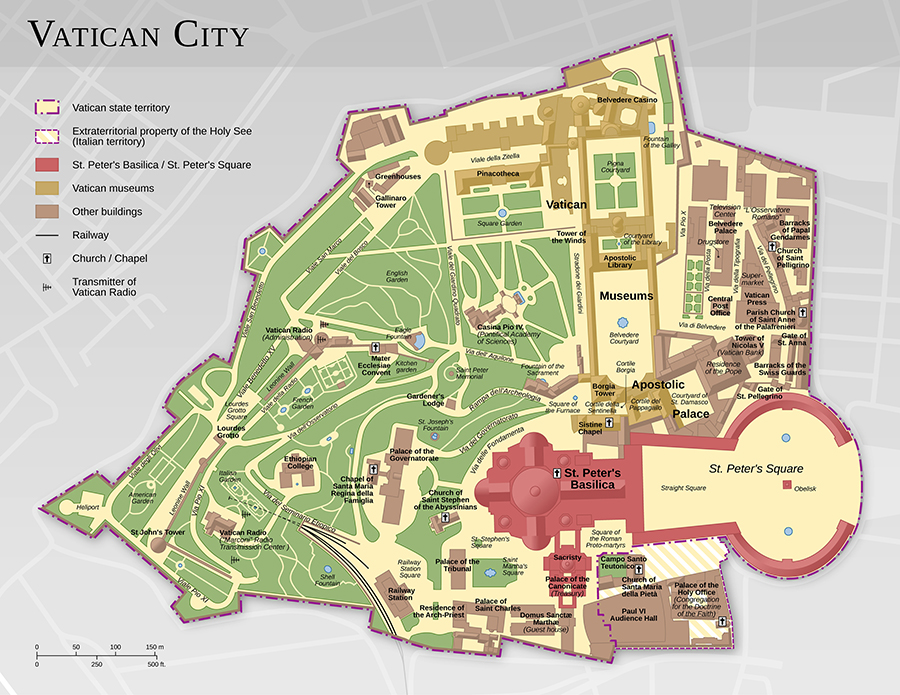 Mapa Watykanu.
