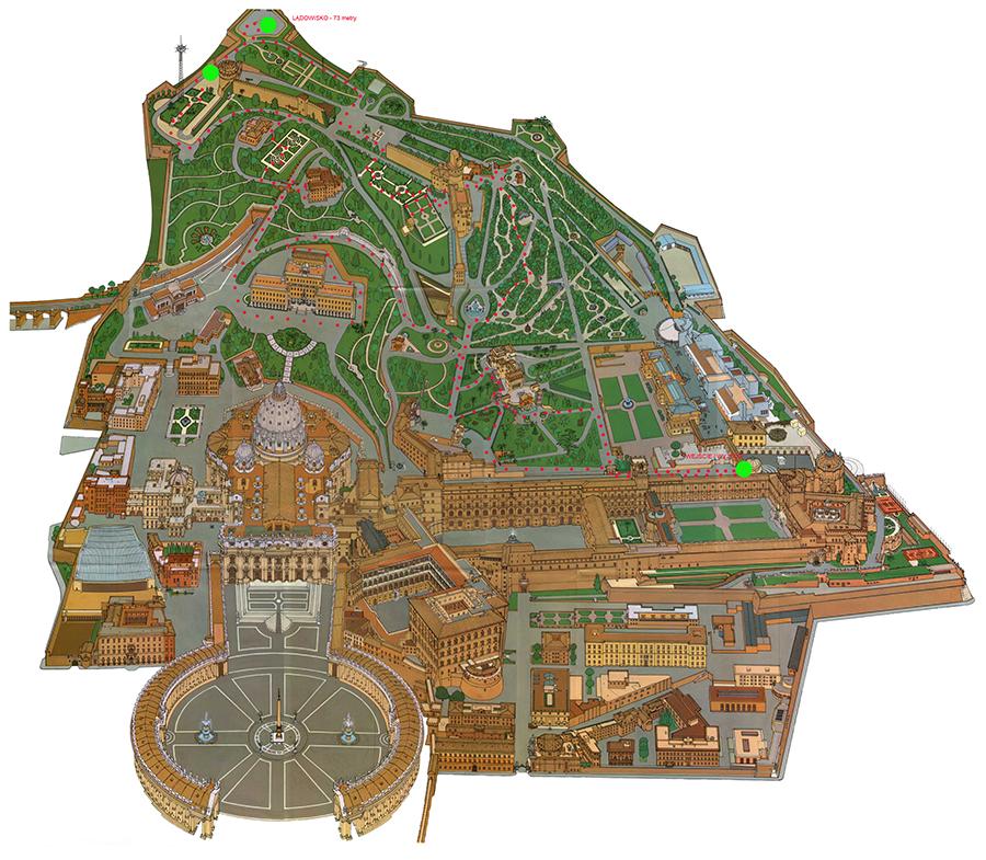 Mapa Watykanu. Czerwone kropki to przebyta droga. Zielone to wejście oraz 2 najwyższe punkty Watykanu.