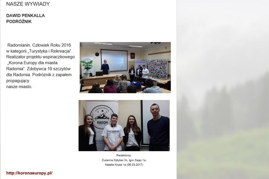 Spotkanie z uczniami Publicznego Gimnazjum numer 5 w Radomiu, materiał ze strony http://pismo5radomska.blogspot.com/p/5.html