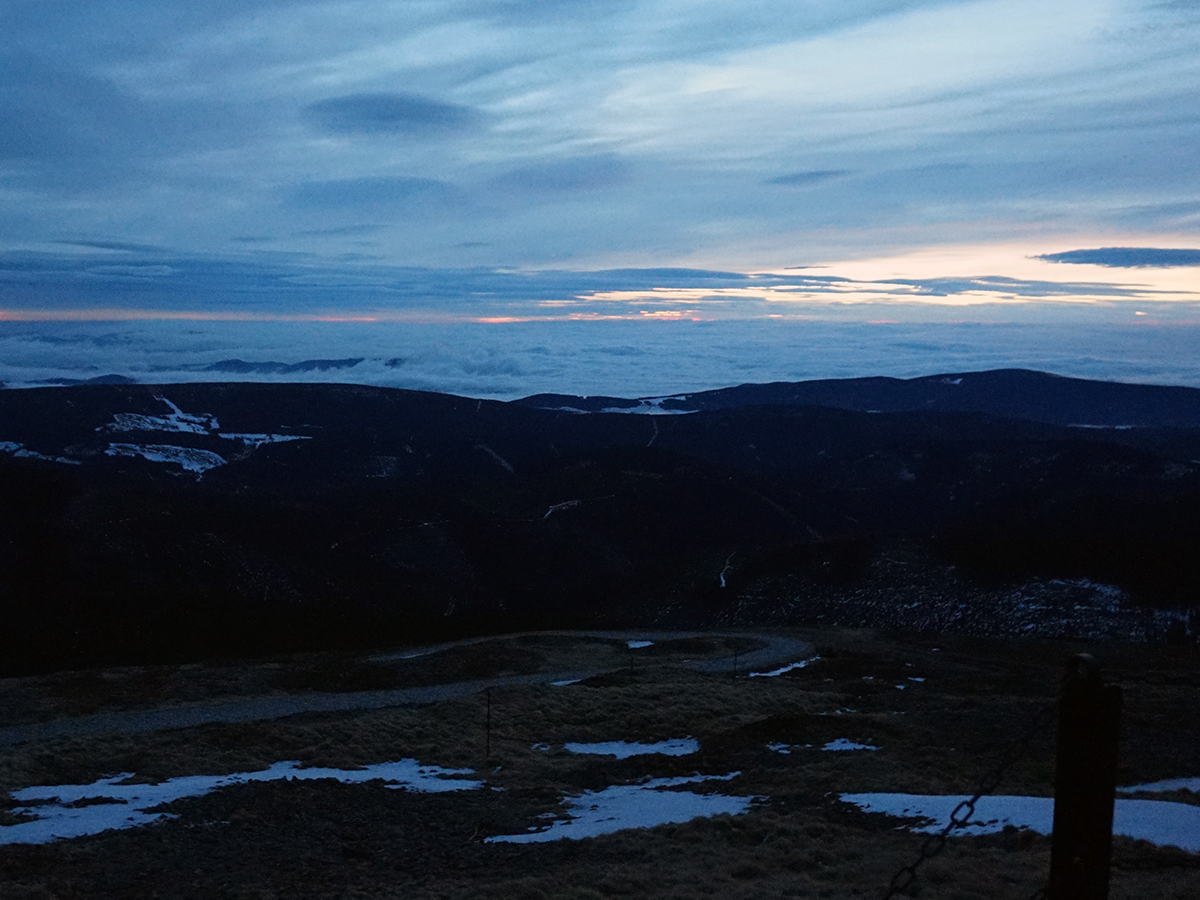 wschód słońca na Śnieżce, grudzień 2016