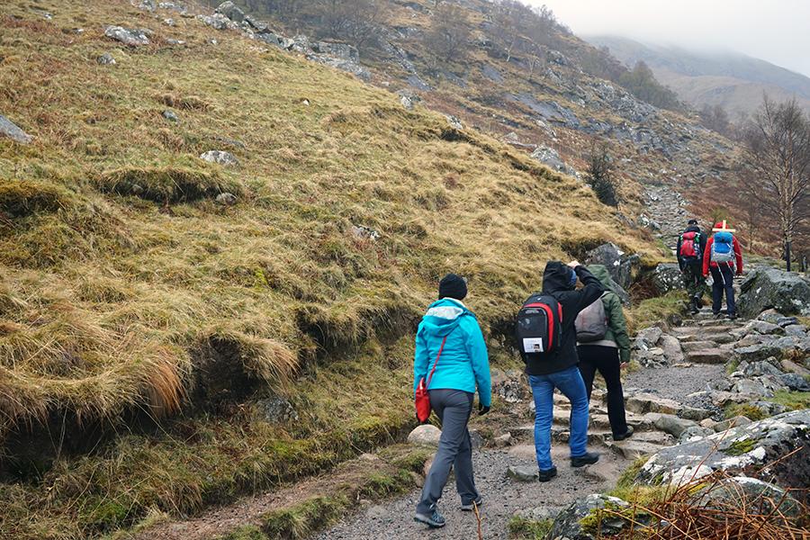 początkowa droga na szczyt. Cała ekipa z Radomia.