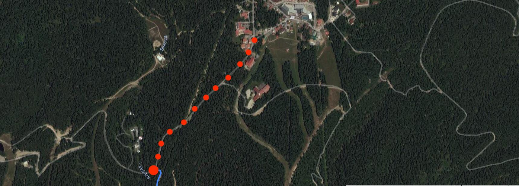 dojazd z centrum Borowec, miejsce startu, początek szlaku czerwonego na Musałe