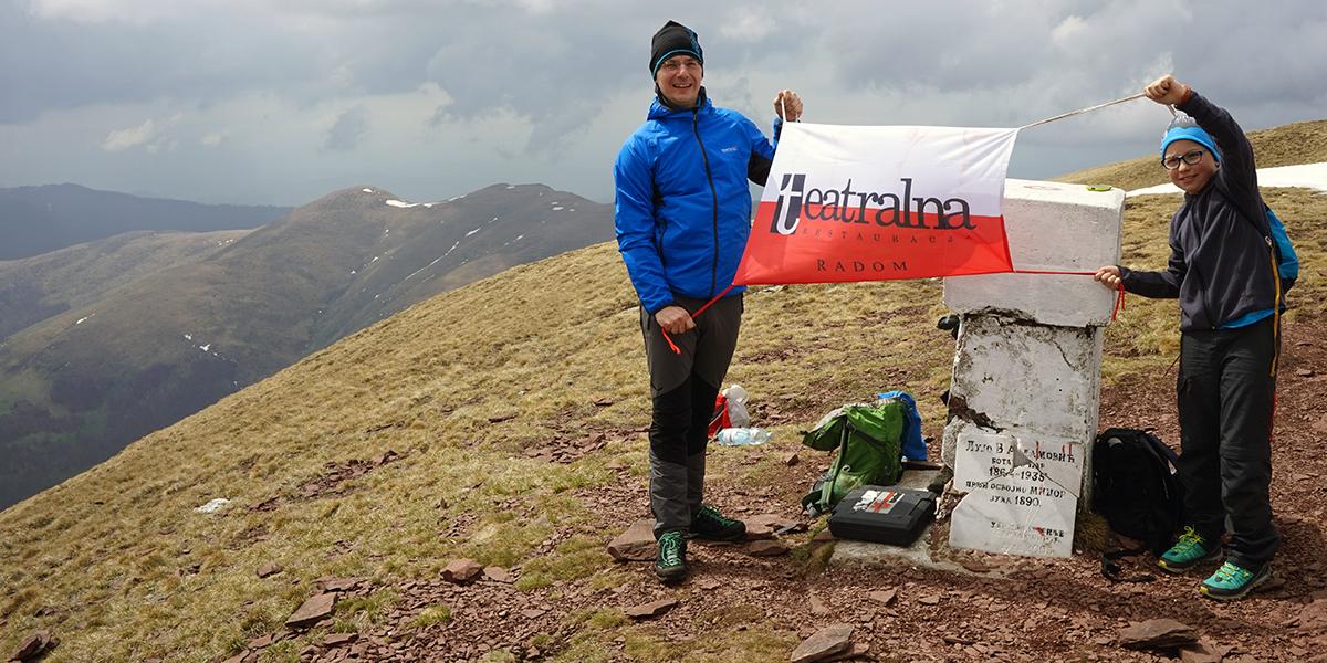 """najwyższy szczyt Serbii Midżur 2169 m n.p.m., Restauracja Teatralna na najwyższym szczycie kraju - nasz sponsor projektu """"Korona Europy dla miasta Radomia"""""""