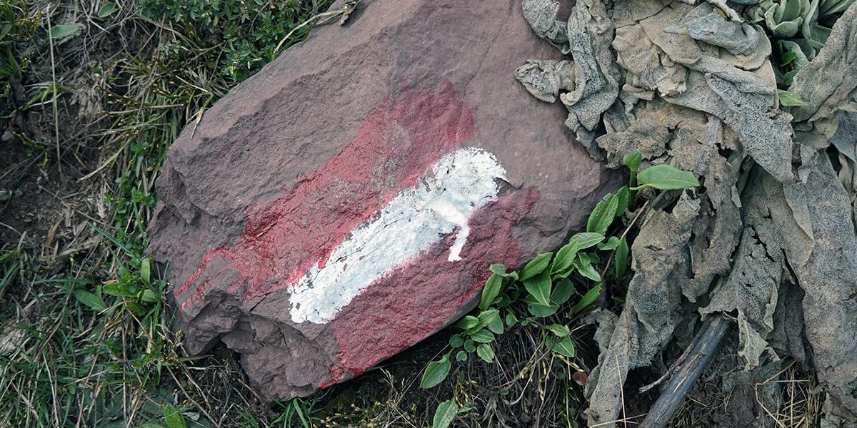 oznaczenie czerwonego szlaku na Midżur