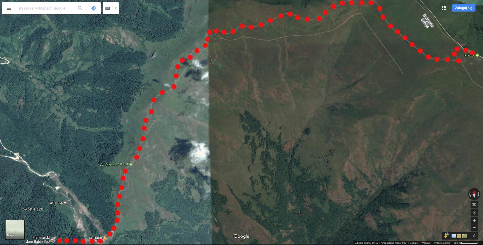 szlak czerwony na Midżur, najwyższy szczyt Serbii