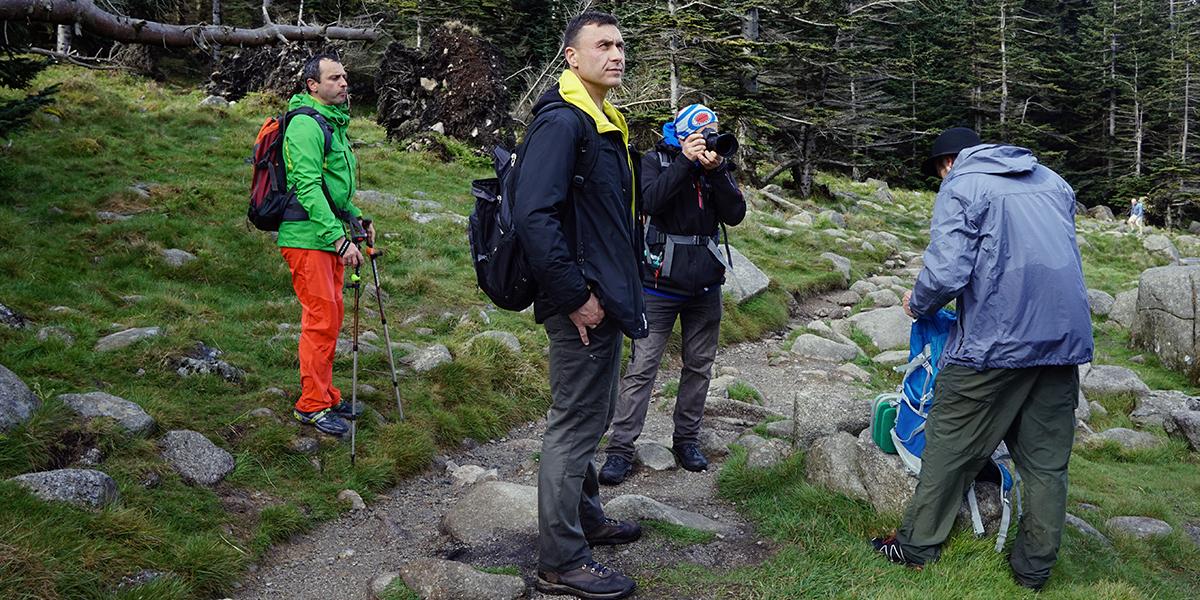 Sebastian, Darek, Jurek i Karol w drodze na Slieve Donard