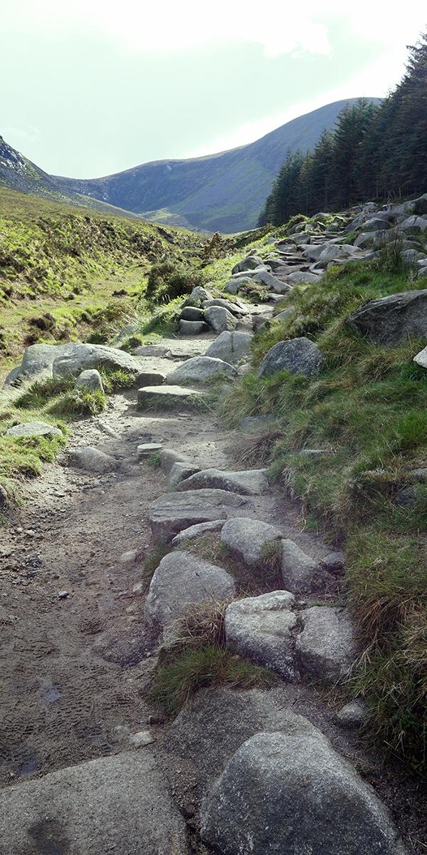 ścieżka prowadząca w dół doliny. W tle po prawej szczyt Slieve Bearnagh