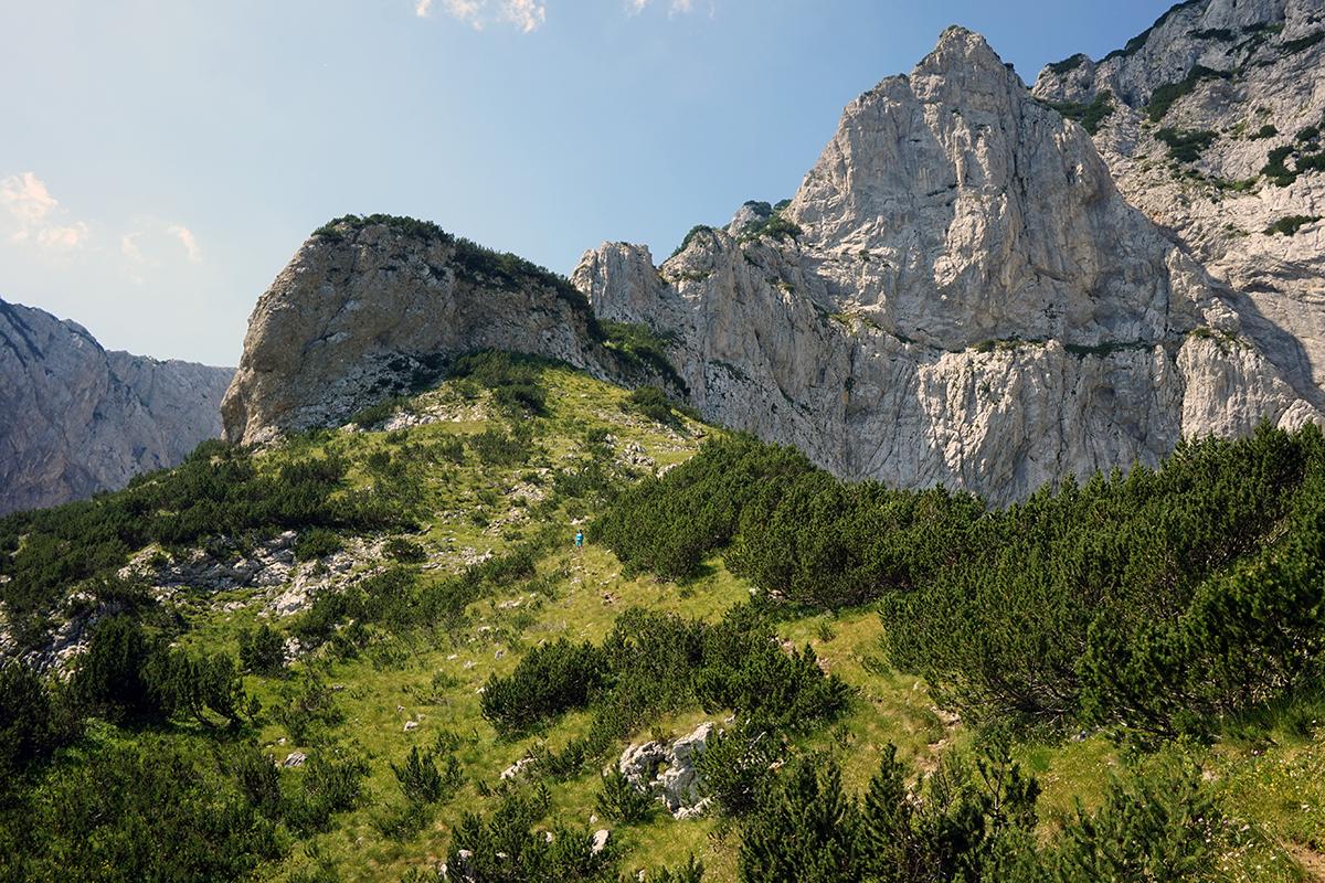 początek wejścia w teren skalny, w tle szlak wejściowy