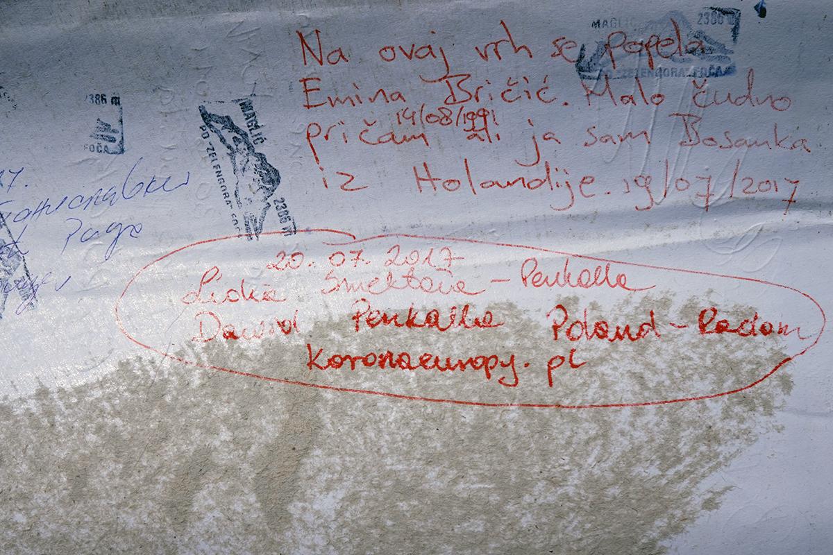 Maglić 2386 m n.p.m., najwyższa góra Bośni i Hercegowiny, książka wejść