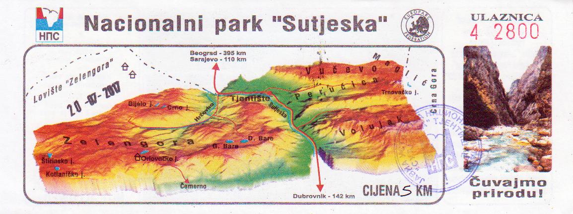 """bilet wstępu do Parku Narodowego """"Sutjeska"""""""