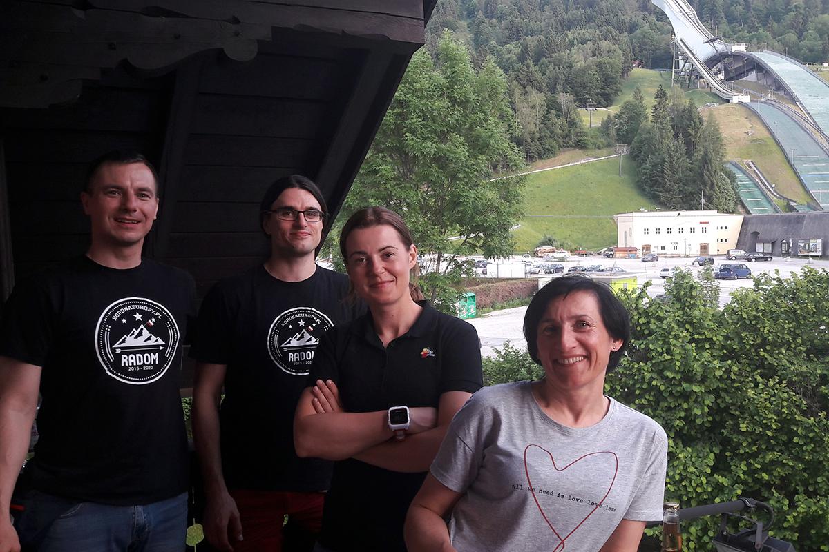pierwszy zespół atakujący Zugspitze: Dawid, Maciek, Zuza i Gosia
