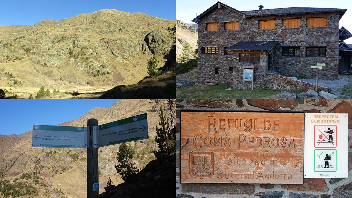 """dolina w której znajduje się schronisko """"Refugi de Coma Pedrosa"""" oraz schron awaryjny"""