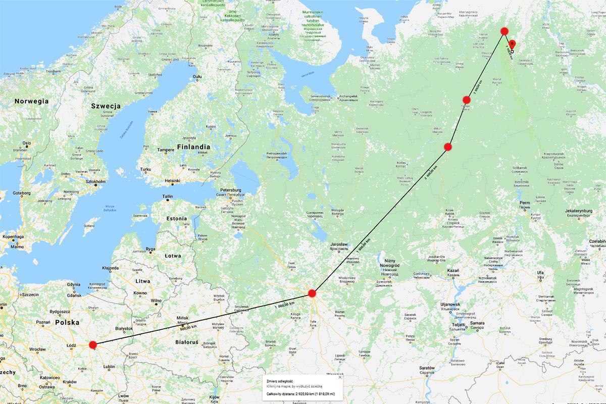 Warszawa - Moskwa - Syktywkar - Uchta - Inta - Narodnaja