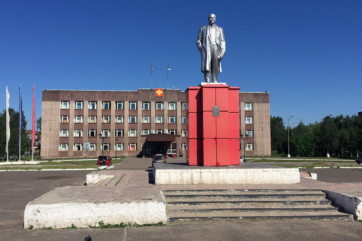 srebrny Lenin w centrum Inty